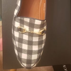 Navy Checker Coach Loafers